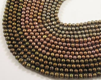 4-5 mm  Potato Freshwater Pearl Beads Rosa, Taupe OR Copper Brown, Genuine Cultured Freshwater Pearl Bead, Potato Seed Pearls (654-PMIX0405)