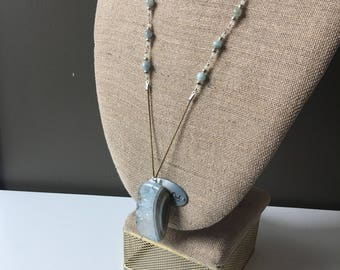 Blue Agate Necklace, Green Agate Necklace, Long Agate Pendant, Bohemian Jewelry, Boho Chic Necklace, Gemstone Pendant, Long Stone Necklace