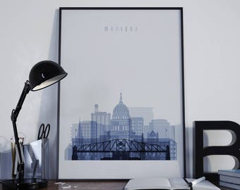 Madison Art Madison Watercolor Madison Multicolor Madison Wall Art Madison Wall Decor Madison Home Decor Madison City Madison Skyline Print