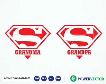 Super Grandma, Super Grandpa SVG Files. Super Grandma dxf, png, eps for Silhouette Studio & Cricut. Superhero Grandparents Cut File