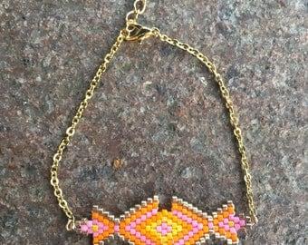 Gold miyuki bead weaving bracelet pink orange yellow