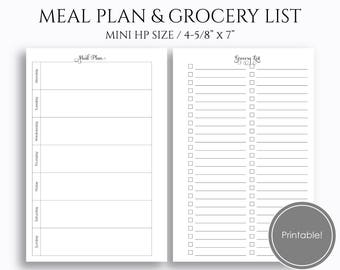 "Weekly Meal Planning and Grocery Shopping List, Printable Planner Inserts, Dinner Plan ~ Mini Happy Planner / 4.6"" x 7"" Instant Download PDF"