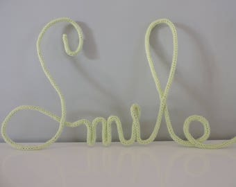 """""""smile"""" word in lime green knitting 5 letters"""