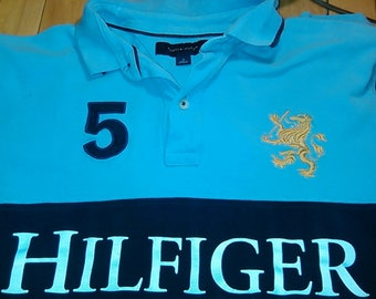 Vintage Tommy Hilfiger Spellout Big 5# Rugby Polo Shirt Blue Navy White Mens Medium