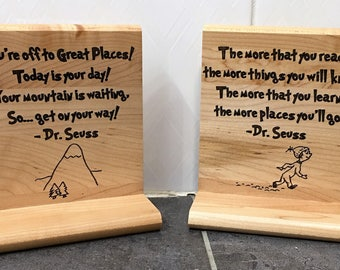 Dr. Seuss Themed Laser Engraved Book Ends