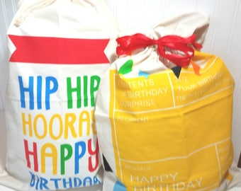 Personalized Kid Birthday Sack, Birthday Gift Bag, Kid Birthday Gift, Monogram Toy Bag, Child Party Favor, Embroidery Canvas Present Sack