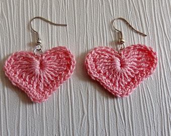 Pink soft crochet heart pierced earrings