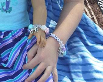"Unicorn Bracelet Set for Child and 18"" Doll, to fit American Girl, Our Generation Dolls"