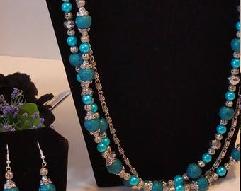 Turquoise Blue and Textured Filgree Multi Strand Necklace and Earring Set