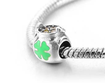 Sterling Silver Clover Charm - Silver Shamrock Charm - Irish Bead - Ireland Charm - st Patrick Charm - Luck Charm - Fits All Charm Bracelets