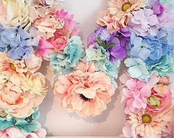 """Floral Letter Wall Decor for Nursery or Girls Room Faux Floral 17"""""""