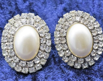 Vintage Faux Pearl And Rhinestone Earrings- Clip On