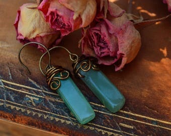 Chrysoprase Stone | Natural Green | Rustic Earrings | Bronze Dangle Jewelry | Boho Wire Wrapped