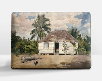 "Laptop skin (Custom size). Winslow Homer, ""Native Huts, Nassau"". Laptop cover, HP, Lenovo, Dell, Sony, Asus, Samsung etc."