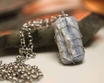 Kyanite (Blue) wire wrapped necklace