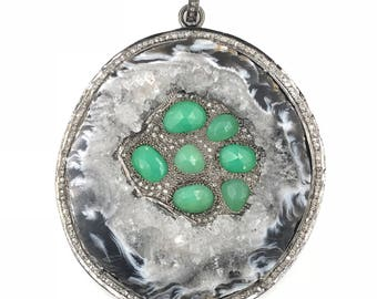 Reserved for Sarah:  Long necklace with diamond druzy and chalcedony pendant, Stone necklace, Pave diamond jewelry