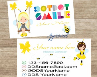 Bee Business Card, Printable, Customized,  Double Sided, Digital DotDotSmile, children's card, updated for any business, Girl bee, butterfly