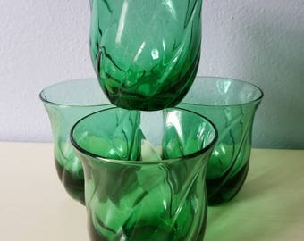 Vintage Anchor Hocking Green Tumblers