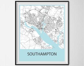 Southampton Map Poster Print - Black and White