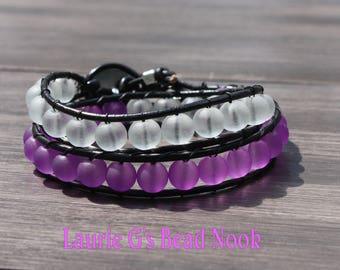 Double wrap leather bracelet sea glass beaded bracelet