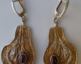Mixed metal dangle earrings, silver and gold, garnet