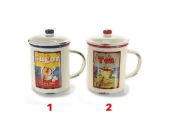 Antiqued ceramic container and airtight lid model 2