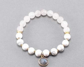 Labradorite Charm Howlite Bracelet