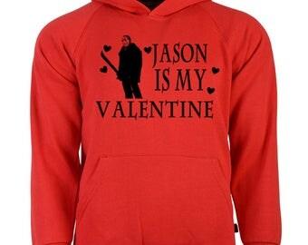 Friday the 13th Jason Voorhees Valentine's Day Unisex Hoodie Pullover Sweatshirt Sizes Colors Custom Horror Halloween Merch Massacre