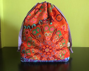 "Handmade drawstring bag / pouch for knitting crochet project 10"" x 6.5"" x 3.5""  *KFC colourplash*"