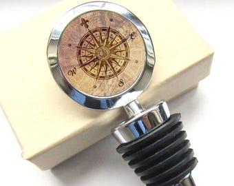 Compass Wine Bottle Stopper - Housewarming Gift - Wine Lovers Gift