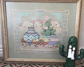 Vintage Framed Southwestern Cross Stitch -Embroidery -Needlepoint -Cactus