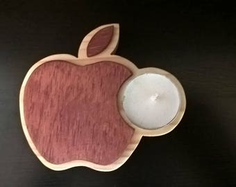Apple i-phone wooden tealight holder, excellent gift!