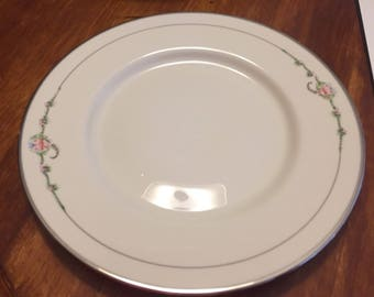 Ransgil June Rose with Platinum Trim 10 1/2 inch Dinner Plate