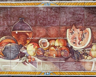 Antique still life  artistic wall panel on ceramic tile mural hand painted. Made in Italy