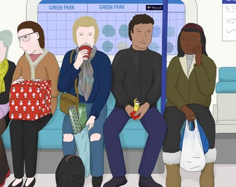 Postcard: Drawing of commuters drinking coffee and eating on the London Underground / metro / the Tube (A6 size artwork)