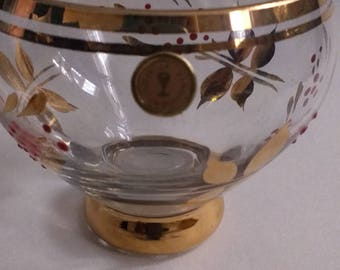 Gorgeous Vintage Retro Romanian Glass Gilt Sugar Bowl with Leaves and Red Berries