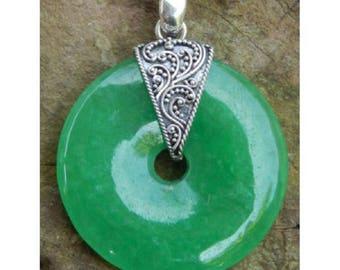 Indonesia 925 Sterling Silver Green Giok   Pendant / Handmade Sterling Silver Indonesia