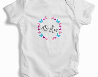 Personalised butterfly wreath White Baby Grow (bodysuit)