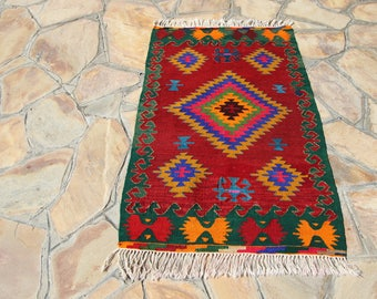 Zig zag,diamond pattern turkish rug,red,green and orange wool rug,decorative rug,traditional,very beautiful very unique,146x104.5