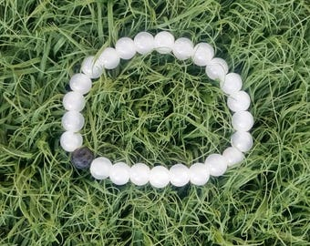 White Beauty single lava bead bracelet