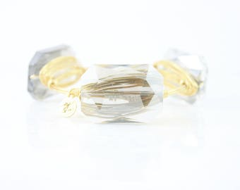 Smoky gray crystal Wire Wrapped Bangle, Wire Wrapped Bracelet, Wire Bangle