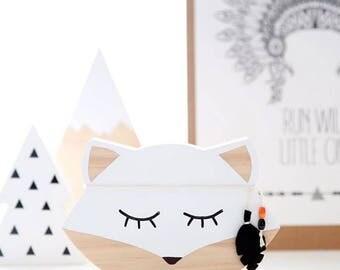 Arrow the Warrior Fox - wooden decor/ timber/nursery/baby shower gift/ monochrome /baby boy/timber decor/c