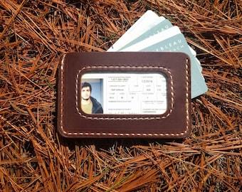 Minimalist ID Wallet, Front pocket wallet, ID Window Wallet, Mens ID Wallet, Slim Id Wallet, Personalized Id Wallet, Mens Leather Wallet, us