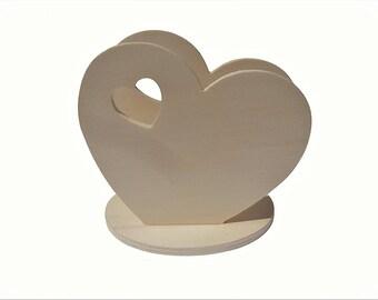 Napkin holder, heart card holder for DIY decoupage.