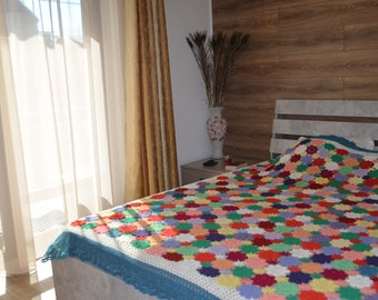 Crochet cover, bed cover, sofa cover, couch cover, handmade item, duvet cover