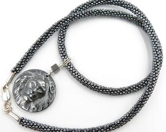 Pendant lion head non magnetic Hematite necklace with beadwoven miyuki, 925 Silver Clasp
