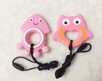 2 pcs  Pink Owl Teether Food Grade Silicone Teether Jellyfish BPA free Baby Teether Nursing Toy Baby Rattles Sensory pendant