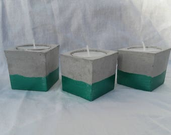 Pearly green concrete candle holder