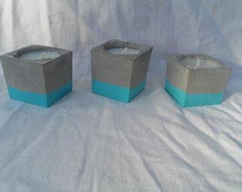 Blue cube concrete candle holder