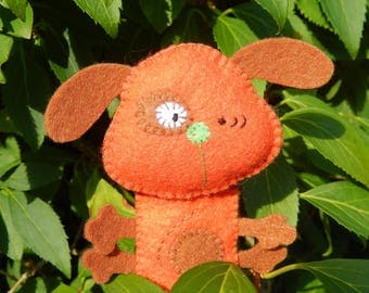 "Finger puppet ""my little ' doggy..."" orange and brown felt"